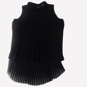 ETECETERA BLACK MOCK NECK SHEER PLEATED BACK TOP